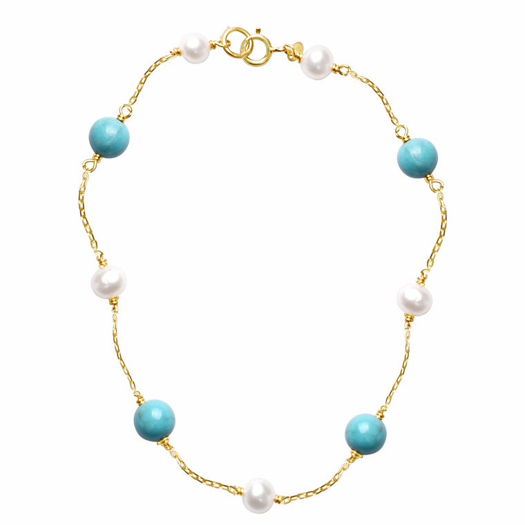 14KY WHITE PEARL TURQUOISE STATION ANKLET 9.5