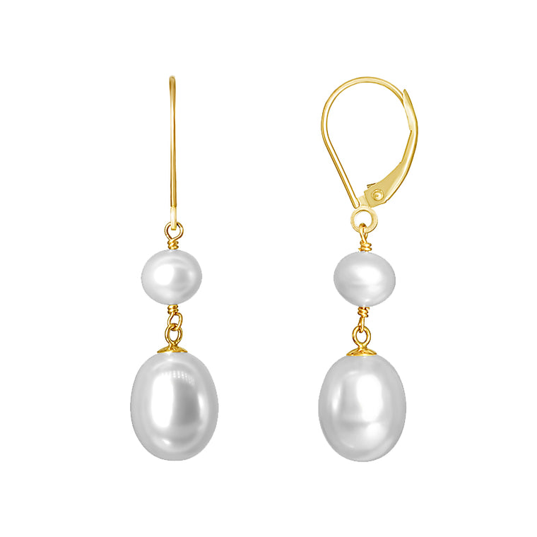 14KY WHITE PEARL LEVERBACK EARRING