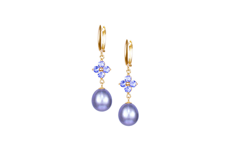 Grey Pearl & Tanzanite Flower Earrings
