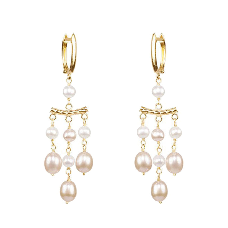 14KY MULTI PINK PEARL GOLD TWIST CURVED BAR 3 DROP HOOP EARRING
