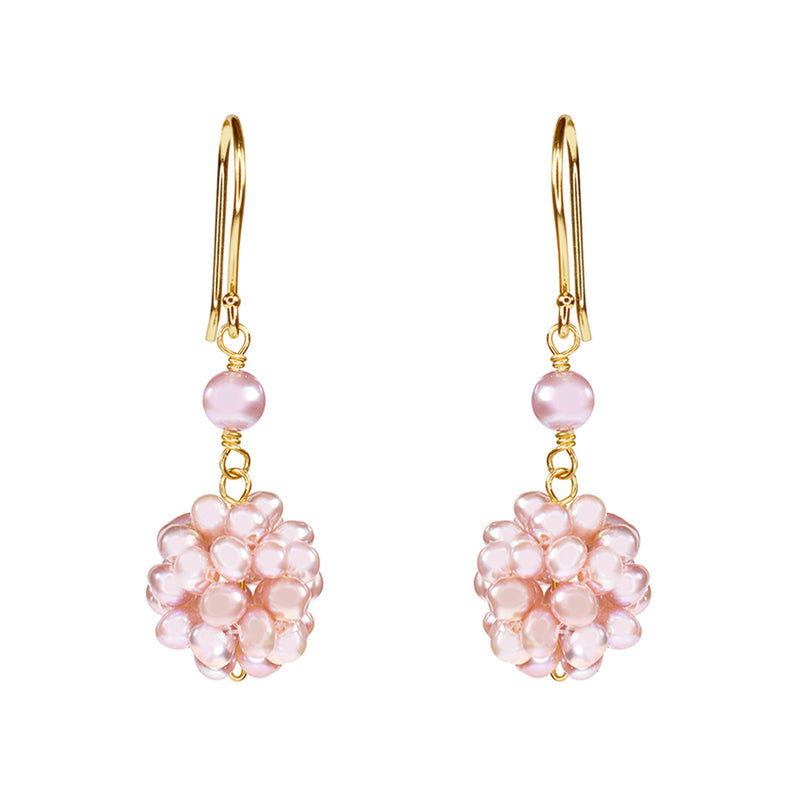 14KY NATURAL PINK PEARL POPCORN HOOK EARRING