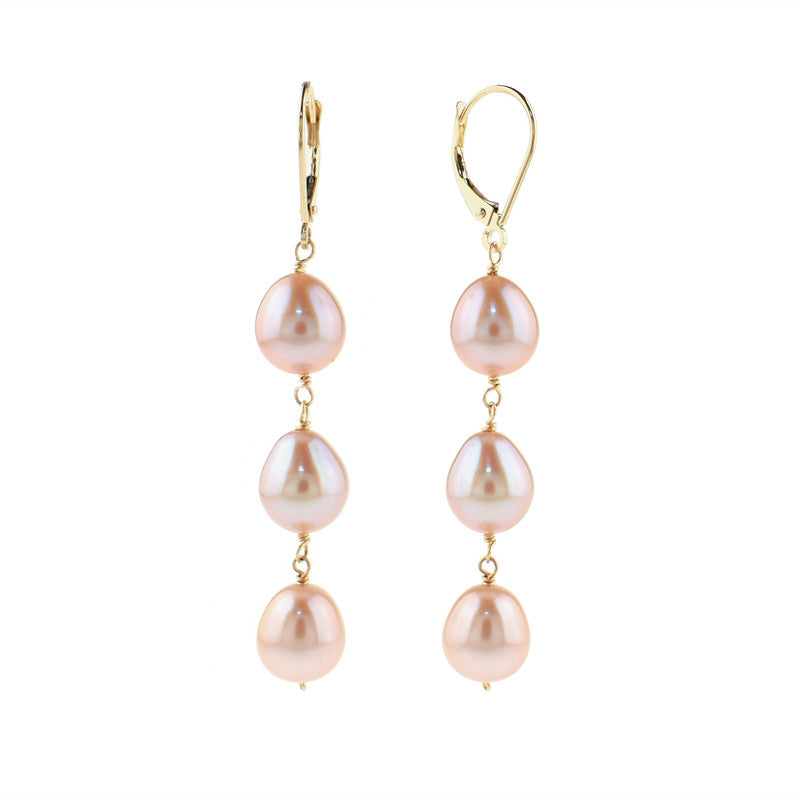 14KY NATURAL PINK PEARL TRIPLE LINK LEVERBACK EARR
