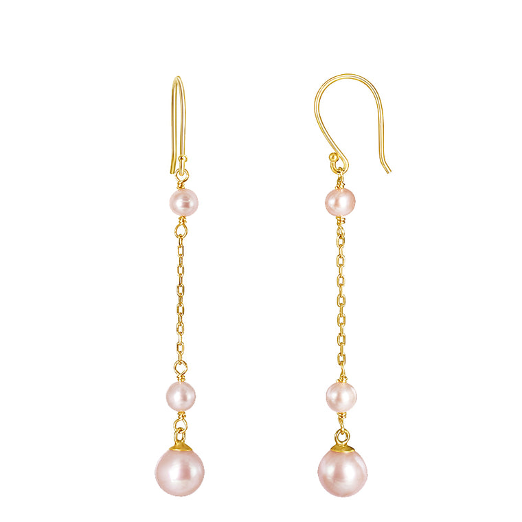 14KY NATURAL PINK PEARL EARRINGS