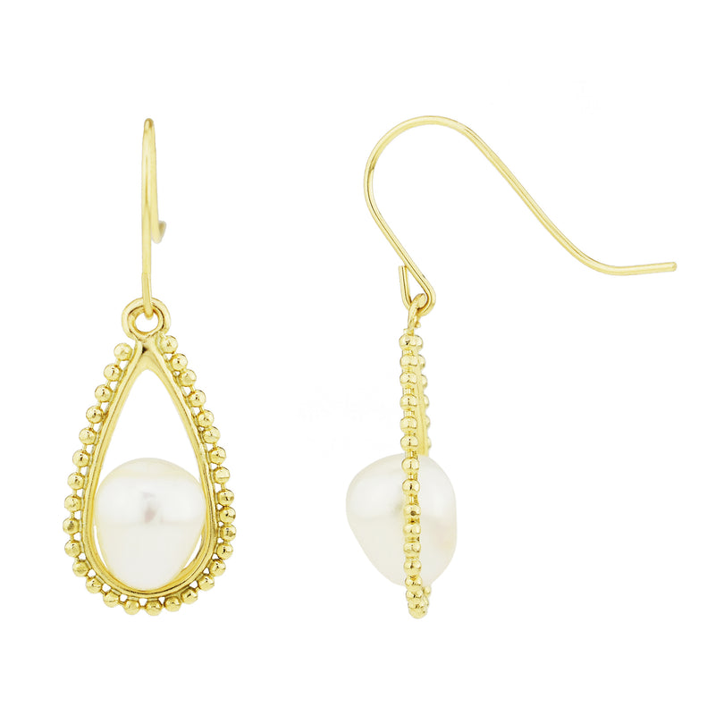 Beaded  With White Pearl Hook Earrings