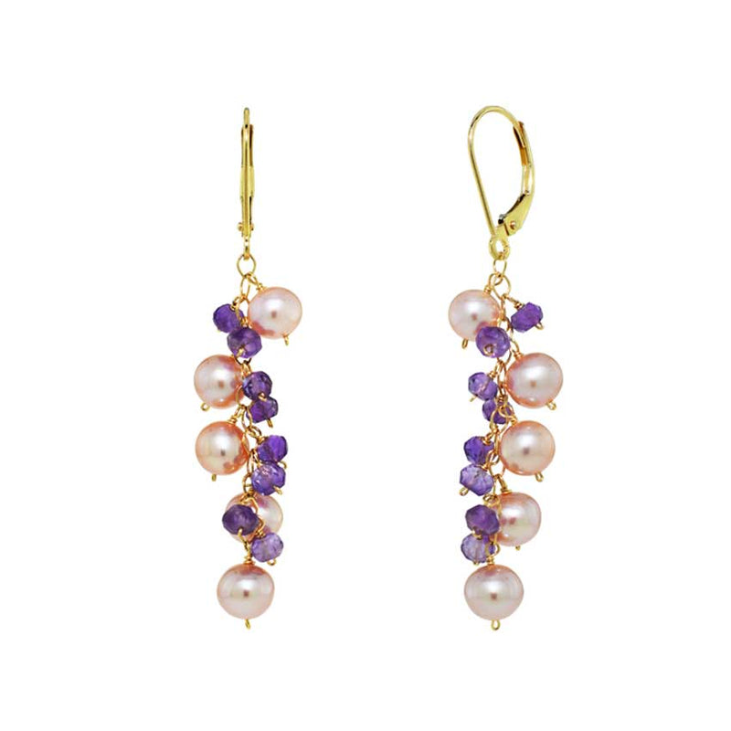 14KY PINK PEARL&AMETHYST CLUSTER LEVERBACK EARRING