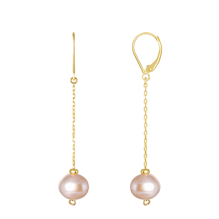 14KY PINK PEARL DANGLING CABLE CHAIN EARRINGS