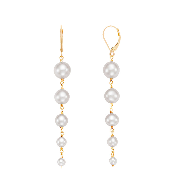14KY WHITE PEARL GRADUATED DROP LEVERBACK EARRING