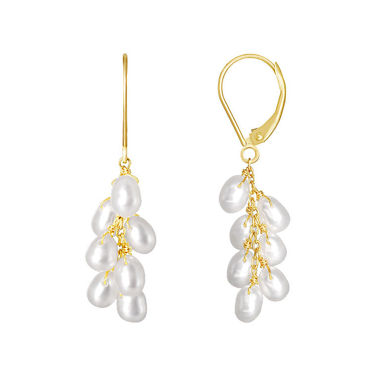 14KY WHITE PEARL DANGLE LEVERBACK EARRING