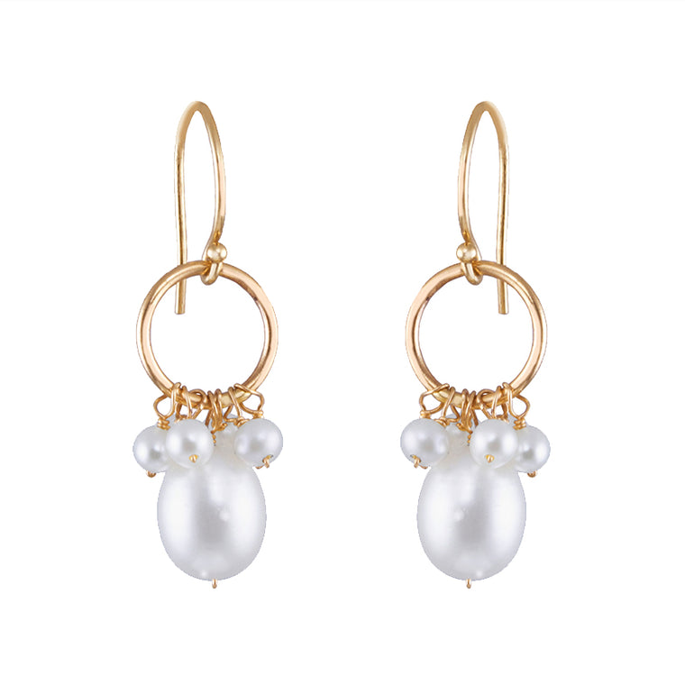 14KY WHITE PEARL DROP HOOK EARRING