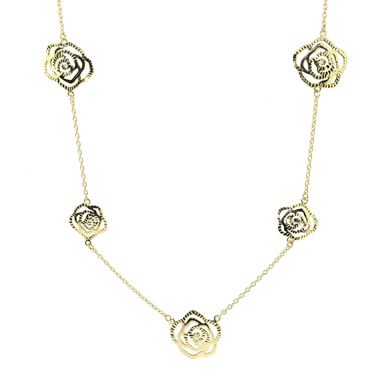 14KY SEVEN DIAMOND CUT ROSES NECKLACE 18