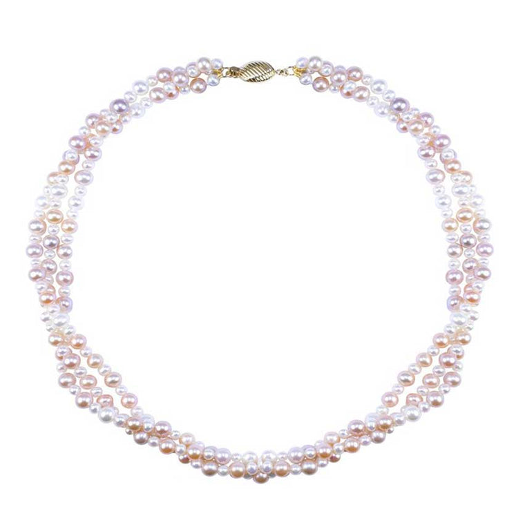 14KY MULTI PINK PEARL 3 STRAND TWIST NECKLACE 18