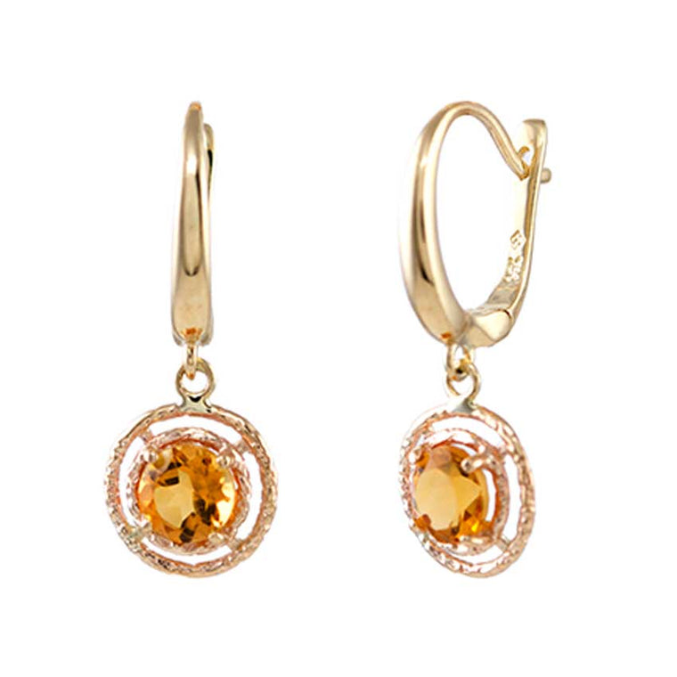 14KY FRENCH HOOP HALO CITRINE EARRING