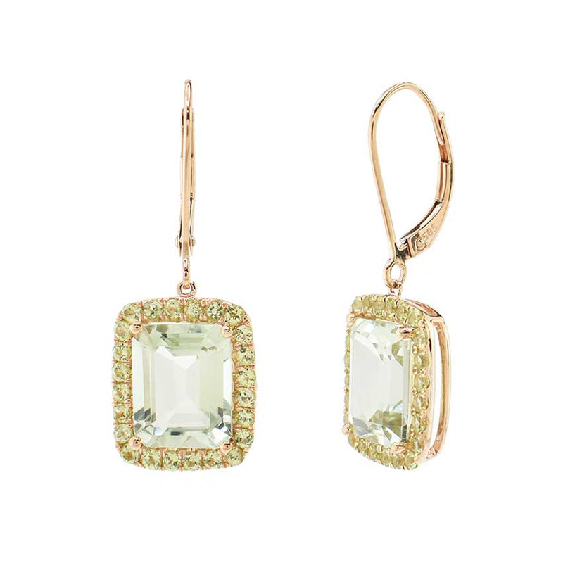 14KR GREEN AMETHYST PERIDOT RECTANGLE DANGLE LEVER