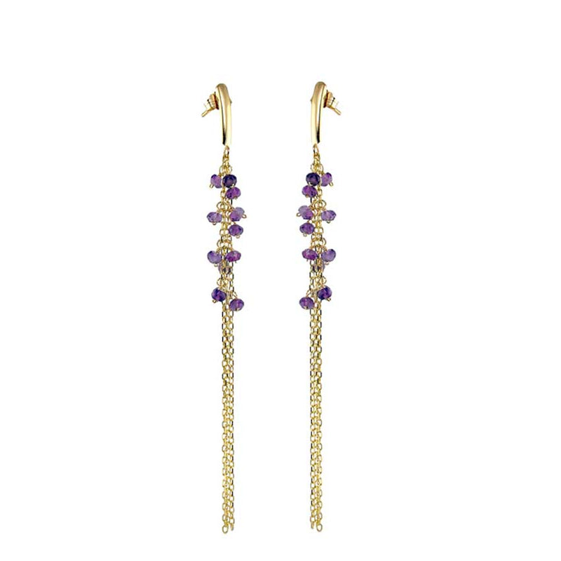 14KY FACETED AMETHYST DANGLE EARRING