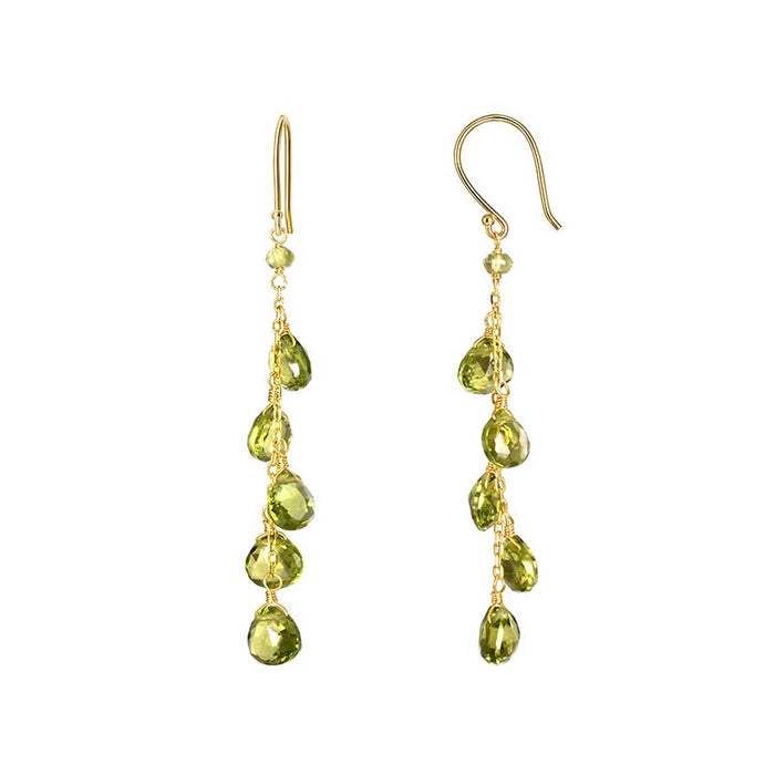 14KY FACETED HEART PERIDOT DANGLE EARRING