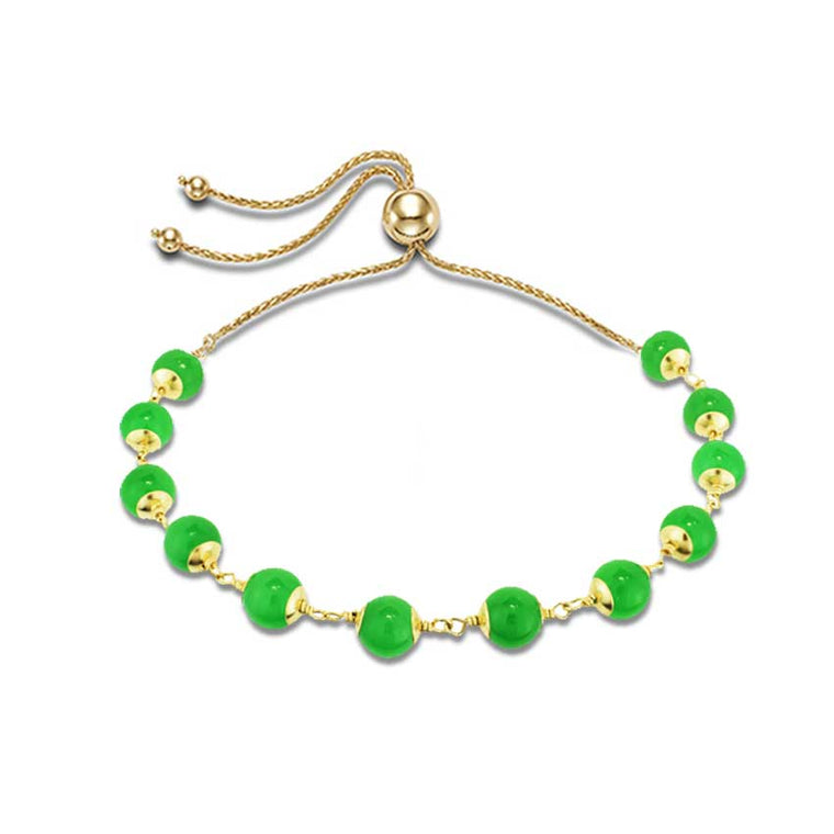 14KY DYED GREEN JADE ADJUSTABLE BRACELET 10.5