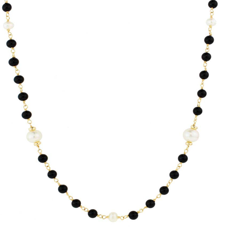 14KY BLACK ONYX & WHITE FWP NECKLACE 36