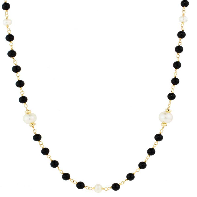 14KY BLACK ONYX & WHITE FWP NECKLACE 36""