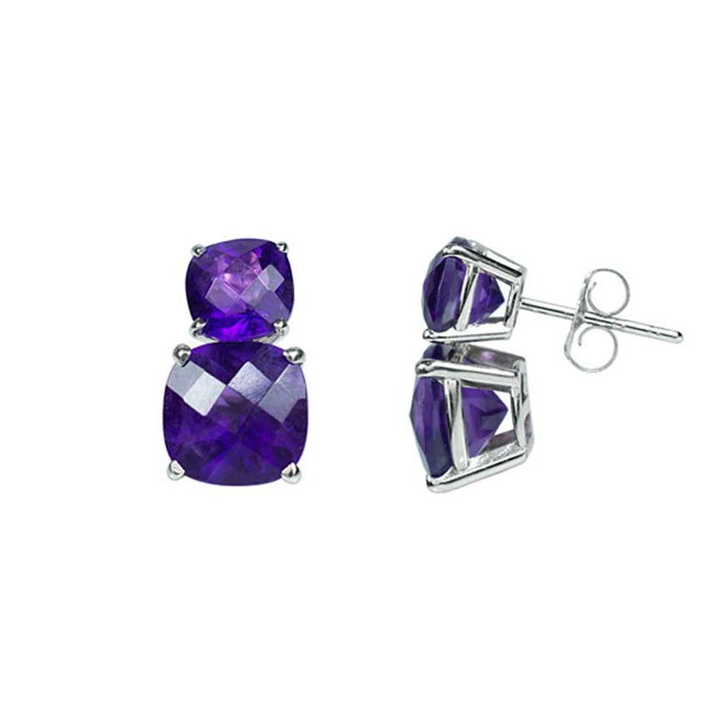 14KW FACETED CUSHION DUAL AMETHYST EARRING