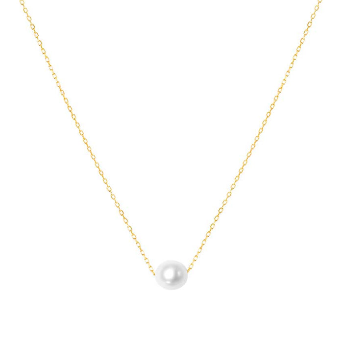 14KY WHITE PEARL BALL SLIDER PENDANT NECKLACE 17""