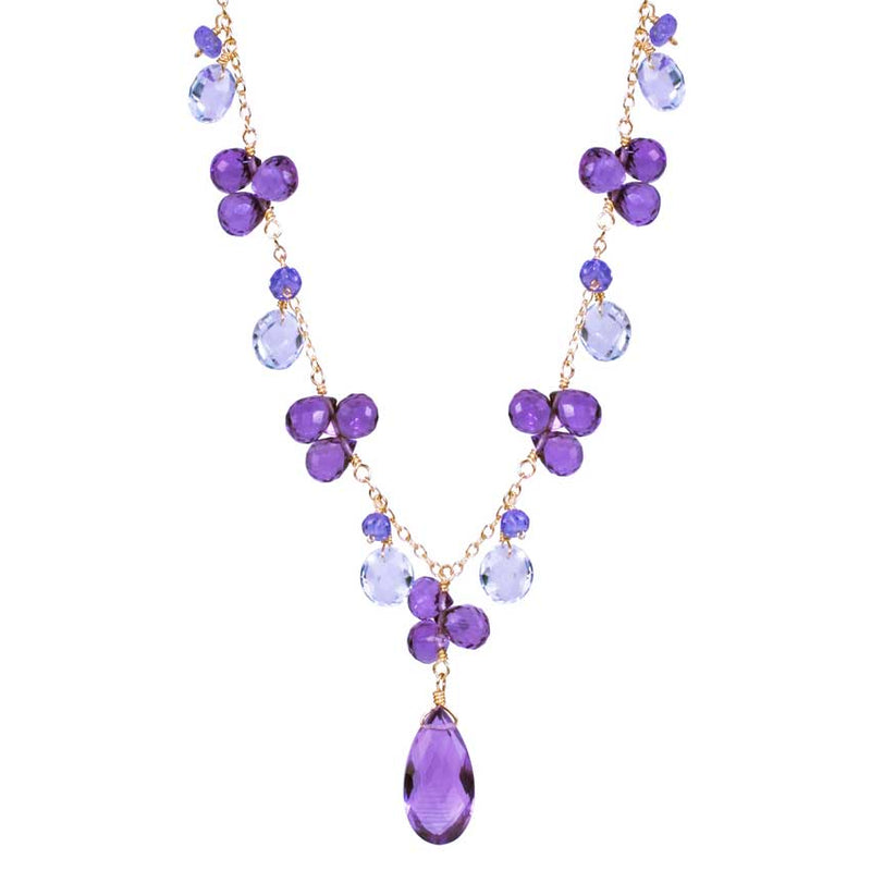 14KY BLUE TOPAZ AMETHYST TANZANITE NECKLACE 17""