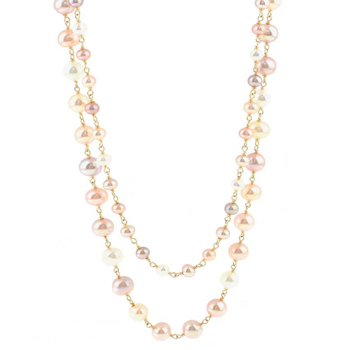 14KY NATURAL MULTI PINK PEARL LINK 2 ROW NECKLACE 20""
