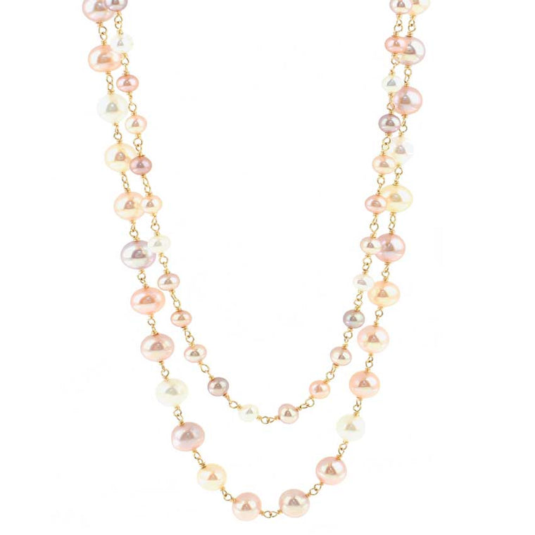 14KY NATURAL MULTI PINK PEARL LINK 2 ROW NECKLACE 20