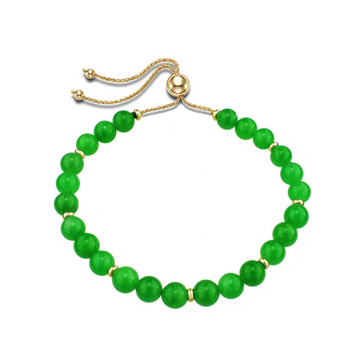 14KY DYED GREEN JADE ROUND BEADS ADJUSTABLE BR 11""