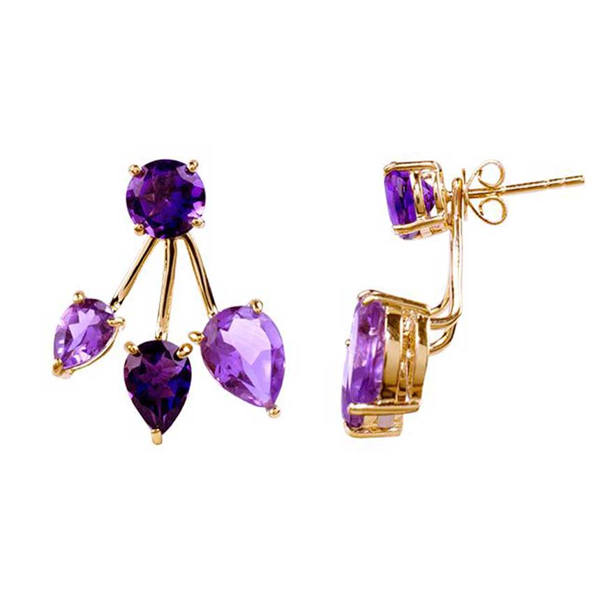 14KY PURPLE/PINK AMETHYST FRONT BACK EARRING