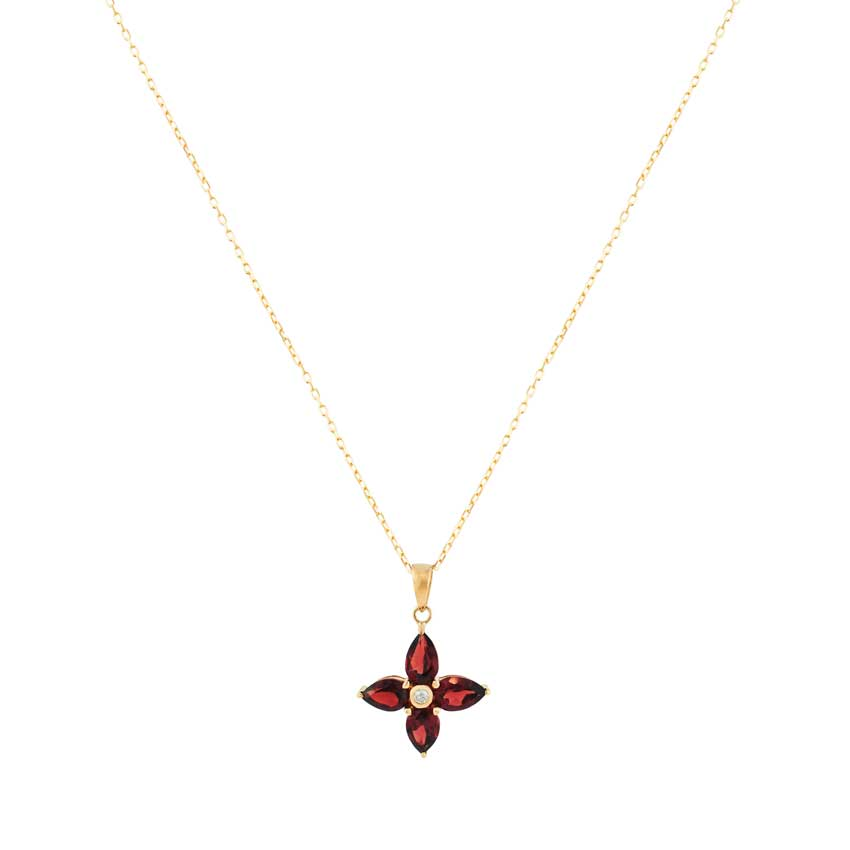 14KY RHD, GARNET, DIA, FLOWER PEND NECKLACE 17""