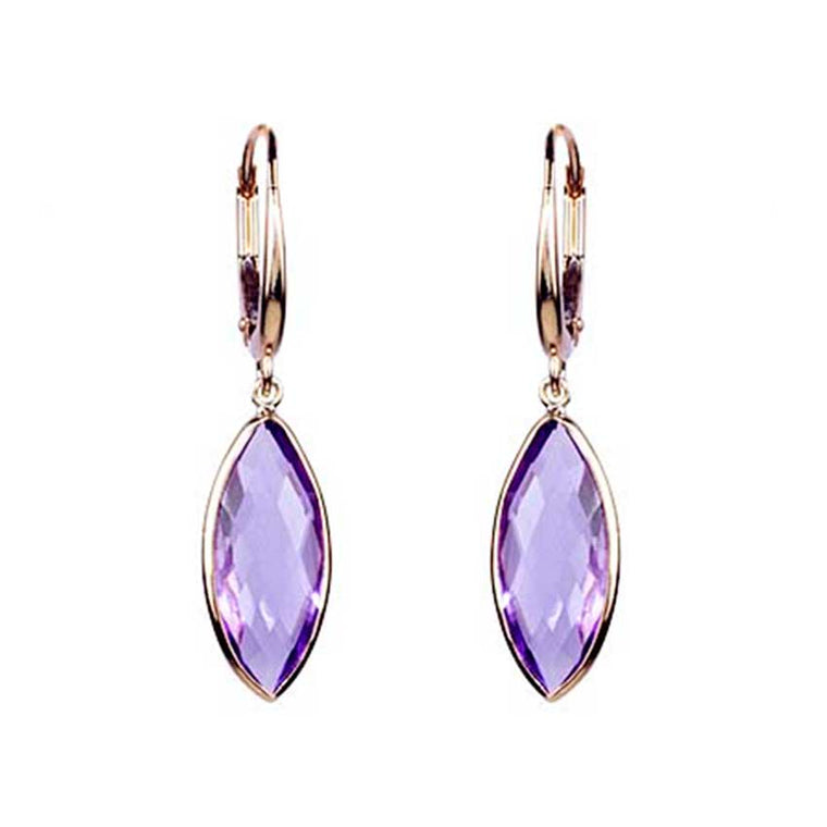 14KY AMETHYST MARQUISE LEVERBACK EARRING