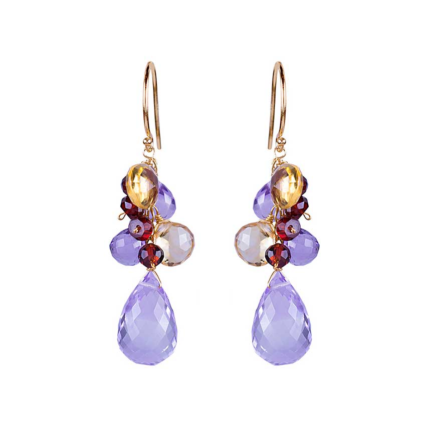 14KY FACETED PEAR CITRINE AMETHYST GARNET EARRING