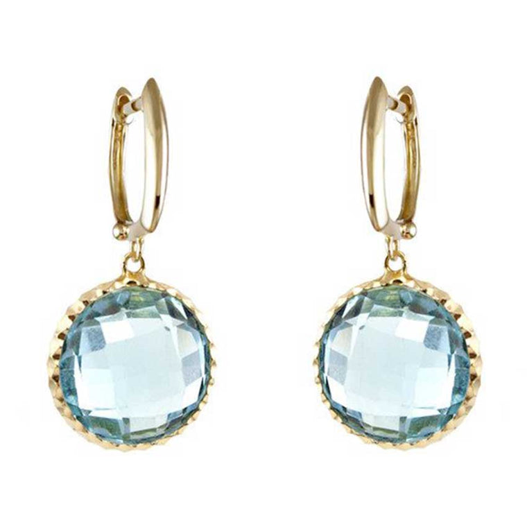 14KY BLUE TOPAZ BEZEL EARRINGS