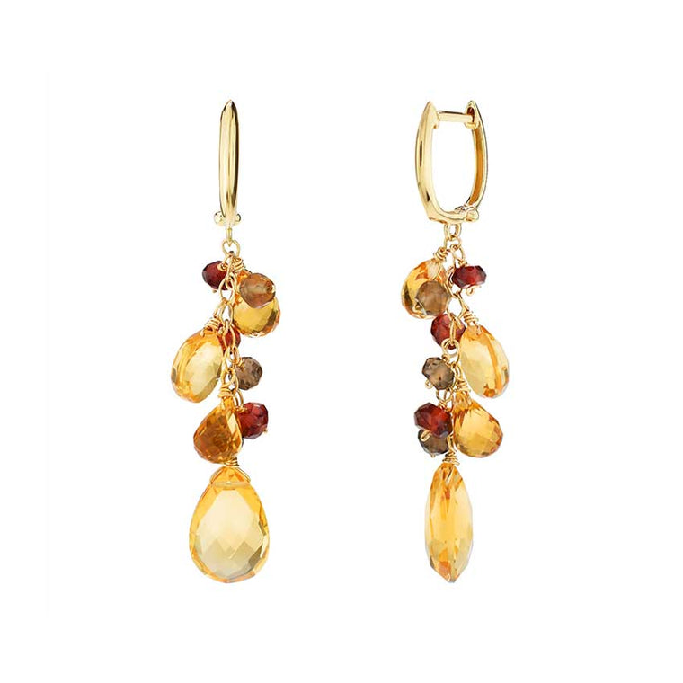 14KY CIT SMQ GAR PEAR DROP EARRINGS