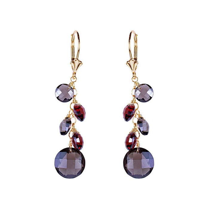 14KY GARNET SMOKY QUARTZ COIN LEVERBACK EARRING