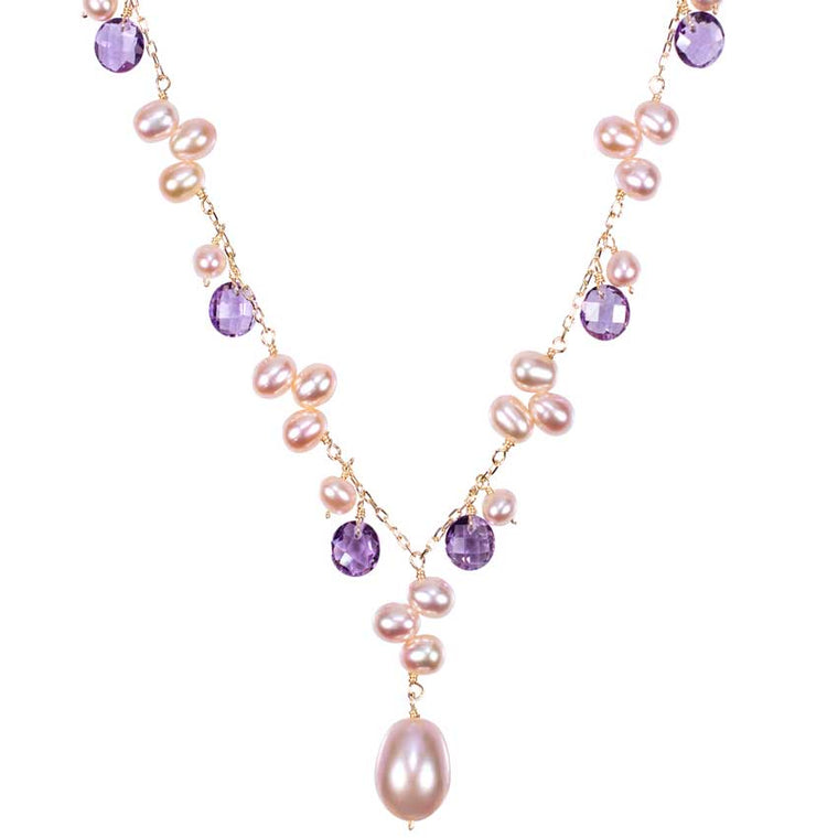 14KY PINK PEARL AMETHYST NECKLACE 18