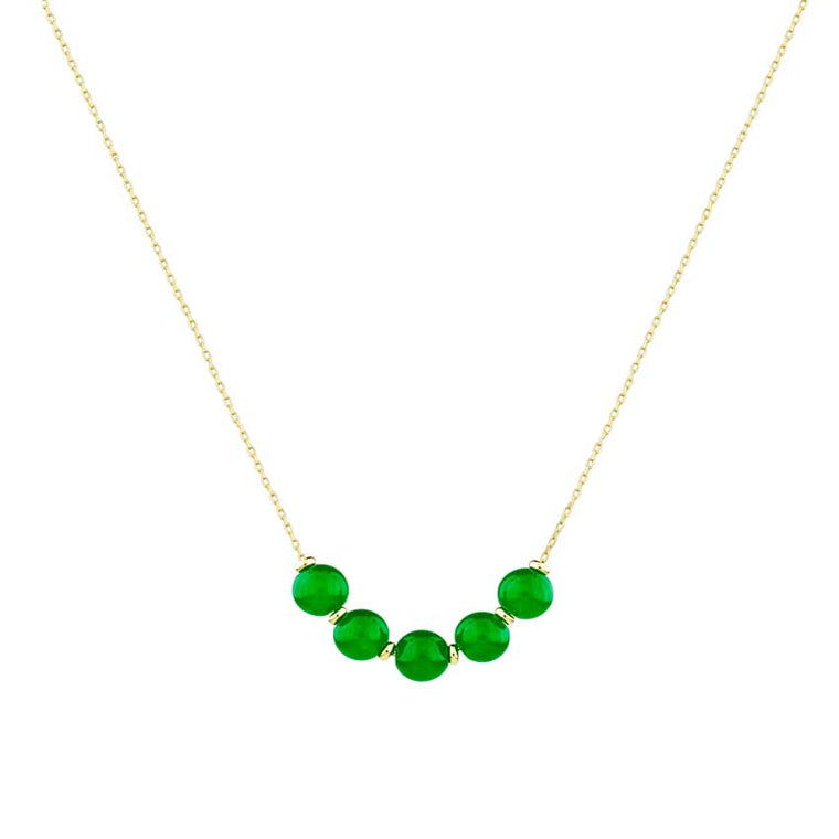 14KY GREEN JADE BEADS SLIDE NECKLACE 18