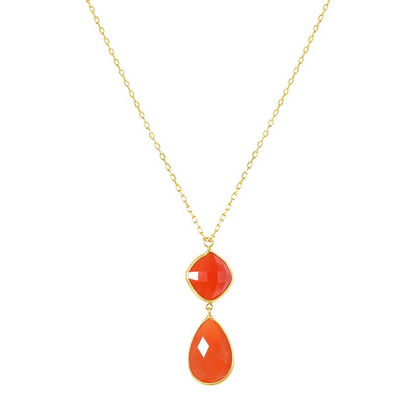 14KY FACETED PEAR CUSHION CARNELIAN NECKLACE