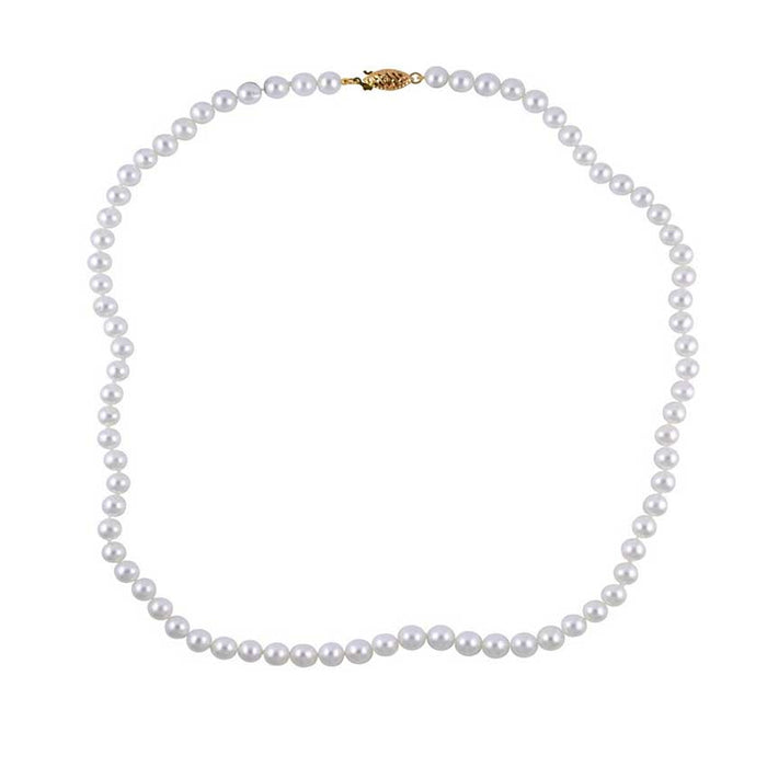 14KY WHITE PEARL 5.5-6MM KNOTTED NECKLACE 18""