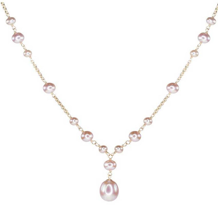 14KY NATURAL PINK PEARL Y NECKLACE 17