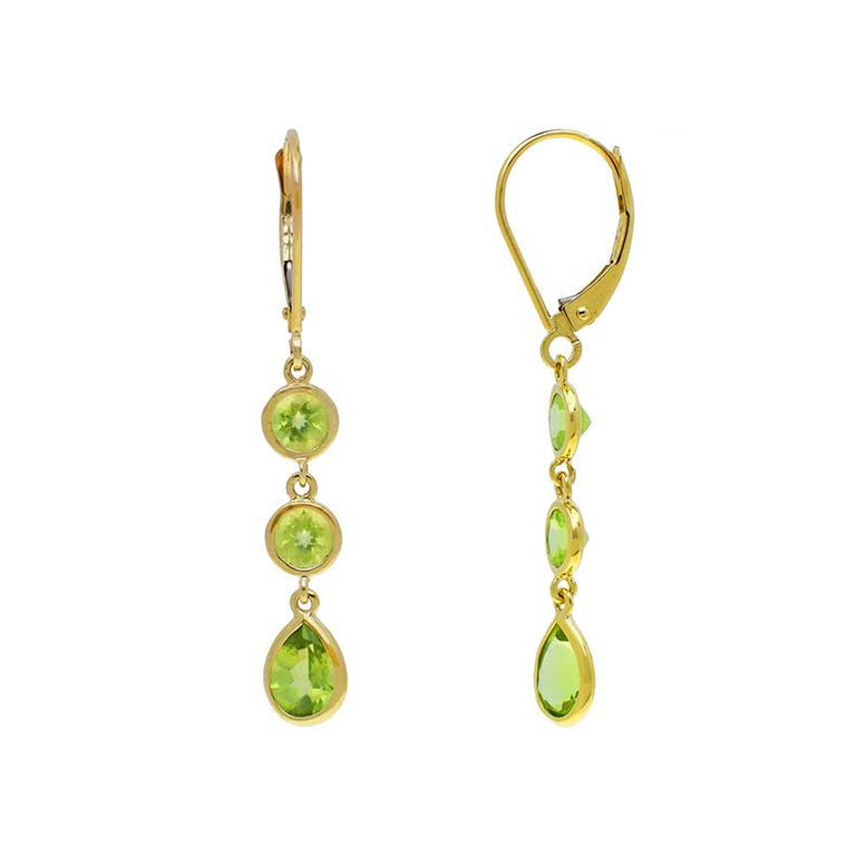 14KY PERIDOT TWO ROUND 1 PEAR BEZEL EARRINGS
