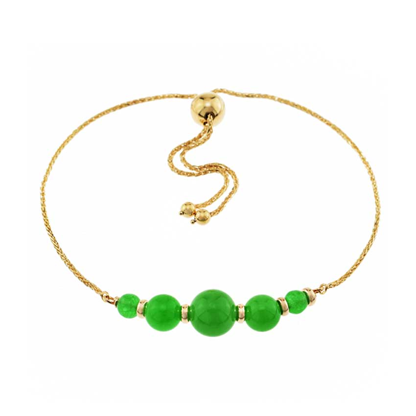 14KY GREEN JADE ADJUSTABLE BRACELET 9.75""