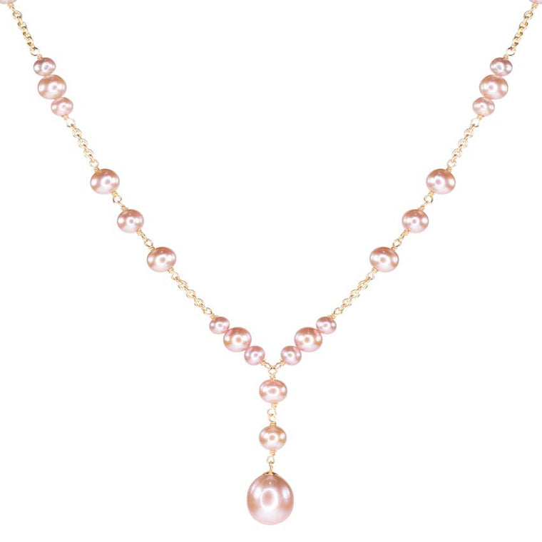 14KY NATURAL PINK PEARL Y NECKLACE 18
