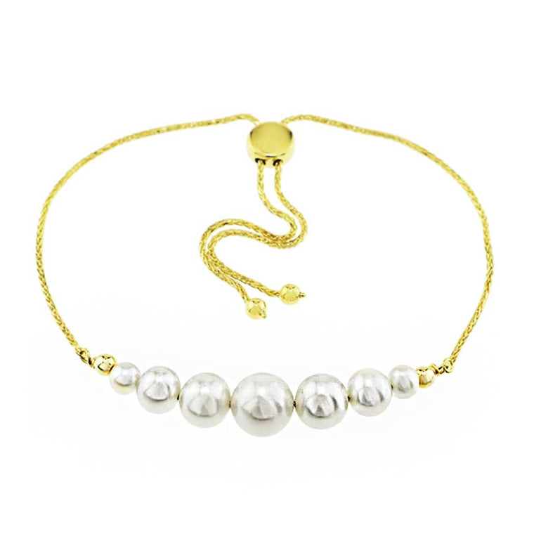 14KY WHITE PEARL ADJUSTABLE BRACELET 10.25