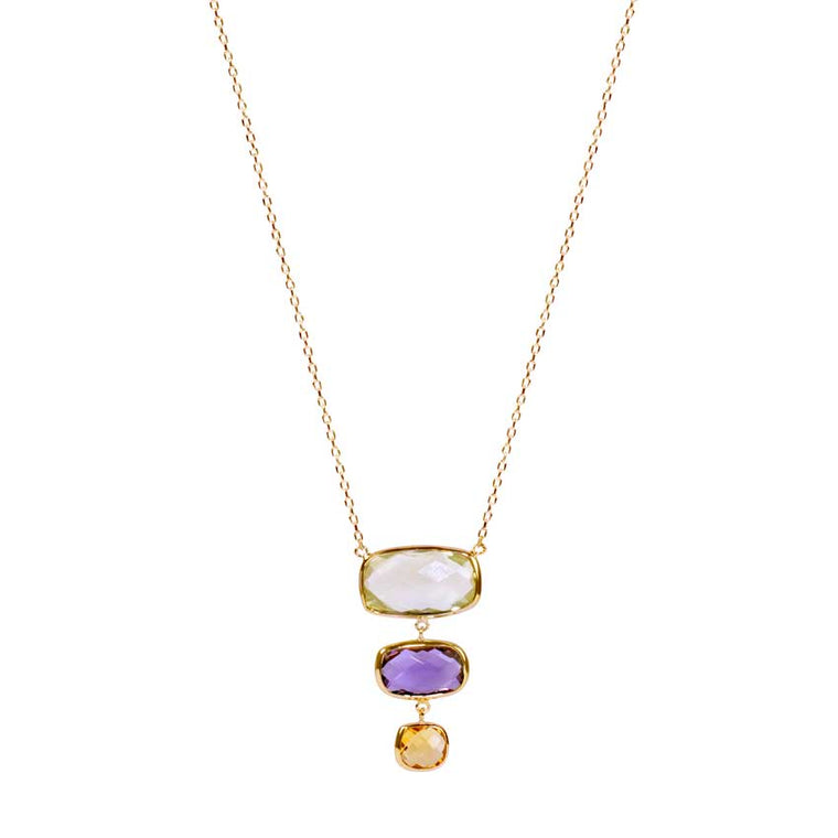 14KY MULTI GEMSTONE TRIPLE CUSHION BEZEL NECKLACE 17