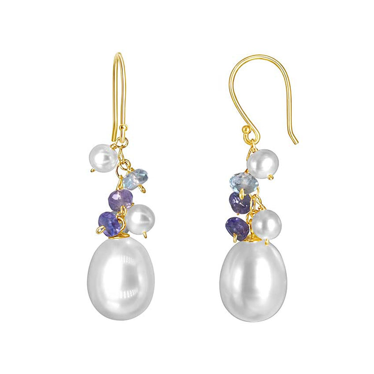 14KY WHITE PEARL TANZANITE SKY BT HOOK EARRING