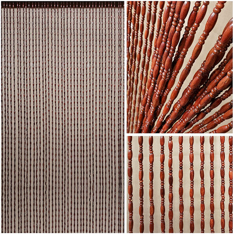 "Wood and Bamboo Beaded Curtain 35.5"" wide X 73"" high - 45 Strands-Breeze"