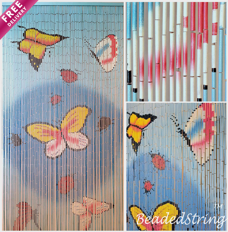 "Bamboo Beaded Curtain 35.5"" wide X 78"" high-90 strands- Butterfly"