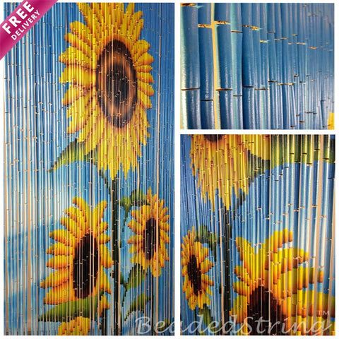 beaded curtain-bamboo-Sunflower1