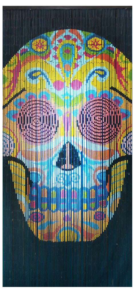 "Bamboo Beaded Curtain 35.5"" wide X 78"" high-90 Strands-Skull"